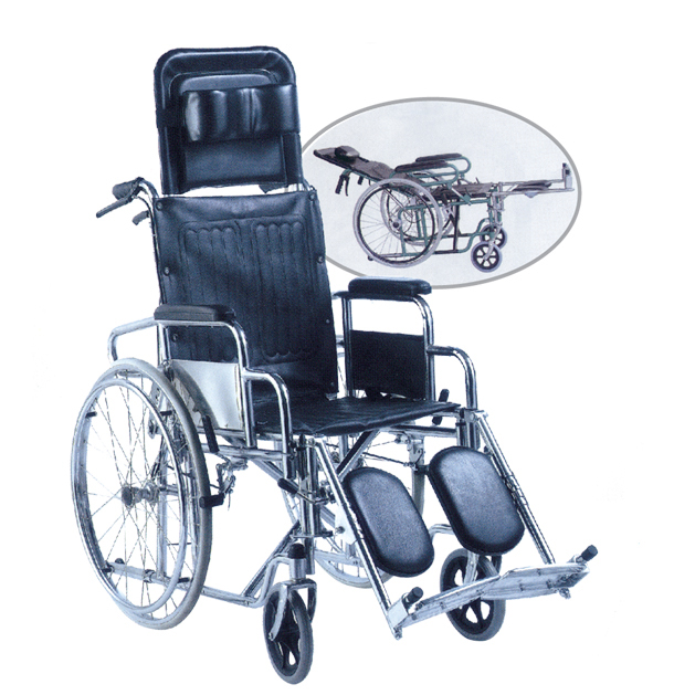 reclining detach armrest and elevating footrest wheelchair